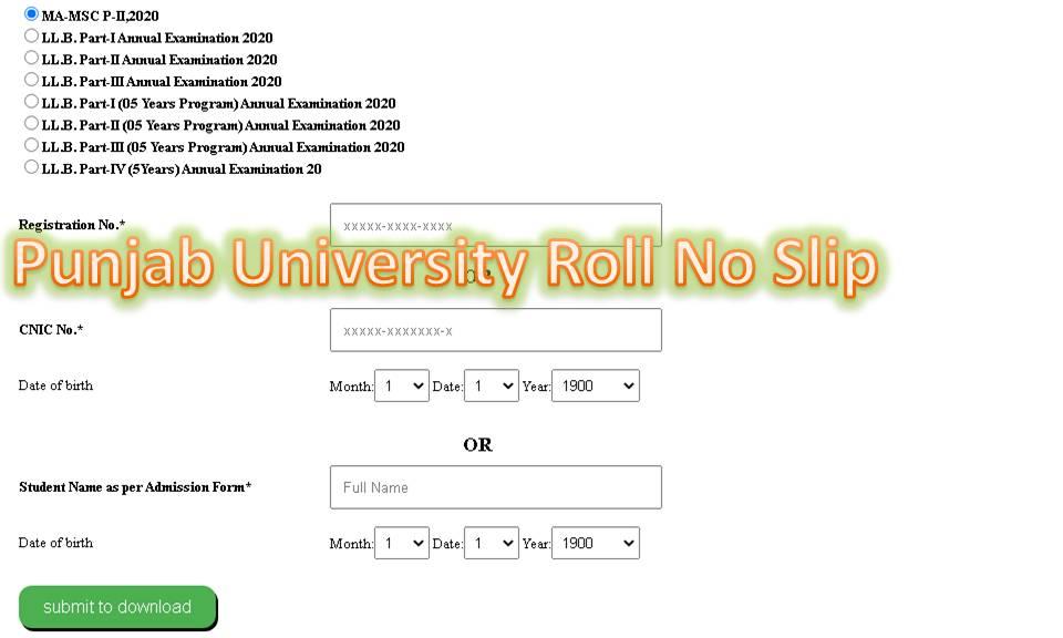 PU Roll no Slip