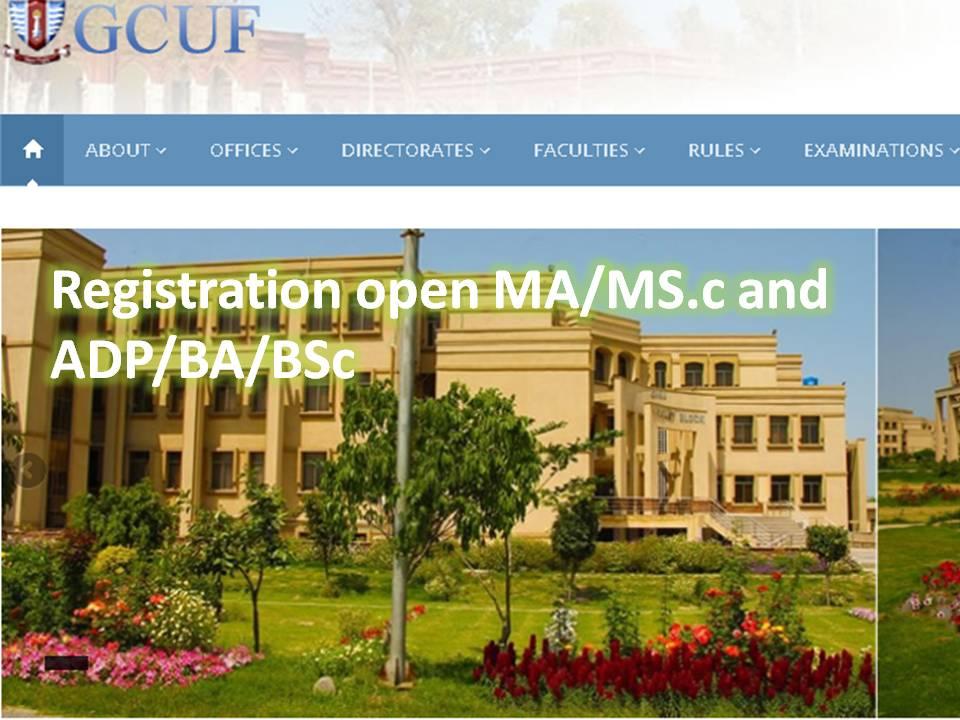 GCUF Registration MA/MSc & ADP/BA/BSc