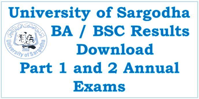 University Sargodha BA/BSc Result Announced Now 2021