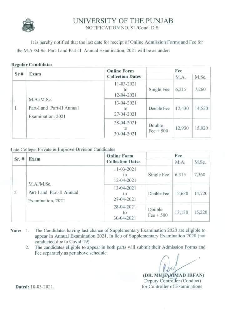 Punjab University Updates & Admission 2021