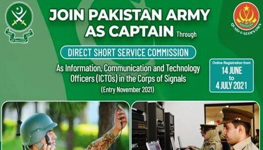 Join the Pakistan Army as Captain ICTO 2021