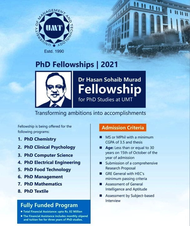 free phd programs (Fully Funded) UMT Fellowship for Ph.D. 2021
