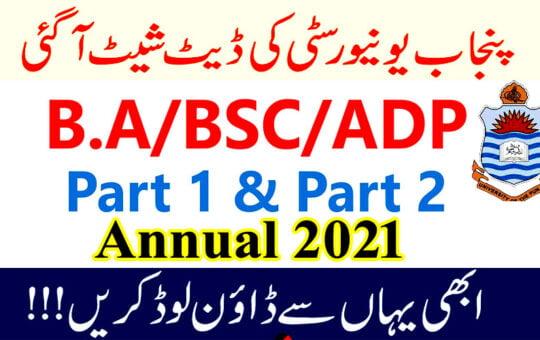 Punjab University BA BSc ADP date sheet 2021